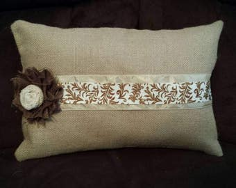 Burlap Ribbon Pillow