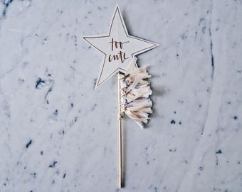 Star Cake Topper / Rose Gold Modern Calligraphy / Custom Hand Lettered / Peach White / Mini Tassels / Baby / Handmade