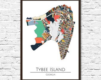 Tybee Island Map, Tybee Island GA, Tybee Island Art, Tybee Island Print, Home Decor, Wall Art, Beach House Decor