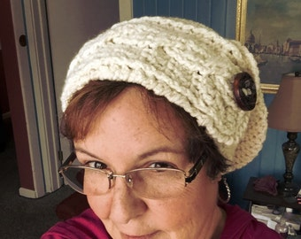 Crocheted Braided band shouchy hat