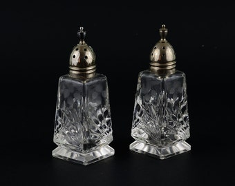 Vintage Cut Glass Salt and Pepper shakers  Metal Tops
