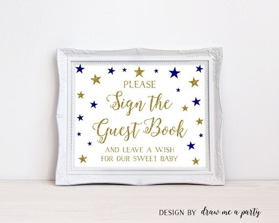 Baby Shower Please Mail Gifts ~ Twinkle little star guest book sign