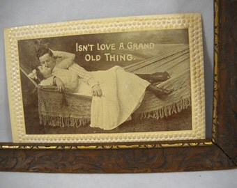 """Vintage Post Card """"Isn't Love a Grand Old Thing"""" Kissing Lovers on Hammock Photo Card/Valentine/Lovers/Kissing/Vintage Victorian Post Card"""