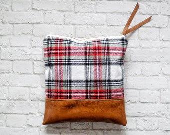 Vegan leather bag - Foldover clutch - Large clutch - Flannel clutch - Canvas clutch - Gift for her - New mom gift - Evening bag