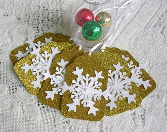 Gold Christmas Tags - Large Snowflake Gift Tags - Set of 6 Pearl Center Glitter Holiday Tags