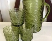 HOLD Vintage Green Glass Pitcher with 4 Glasses, Tumblers