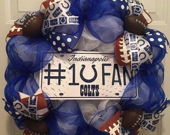 Indianapolis Colts Wreath, NFL Wreath, Deco Mesh Wreath, Colts Decor, Colts Wreath, Colts license plate, football ribbon, Colts