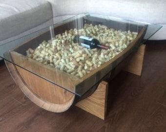 Custom authentic wine barrel coffee table