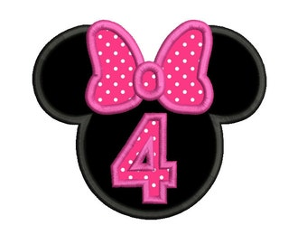 Girl's 4th Birthday Applique Machine Embroidery Design, Mouse Ears, Girl's Fourth Birthday Applique Design, Instant Download, No: SA535-10