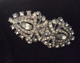 Beautiful Art Deco Paste Double Clip and Brooch