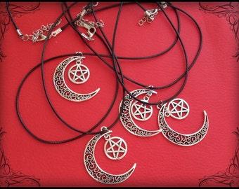 Crescent moon with pentagram