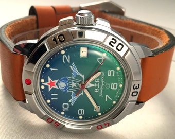 "BRAND NEW Russian Military men's watch Vostok ""Komandirskie VDV"". This army watch comes  with brand new leather strap."