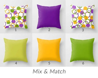 Outdoor Pillow Cover, Patio Pillow, Colorful Pillows, Decorative Outdoor  Cushions, Purple Yellow