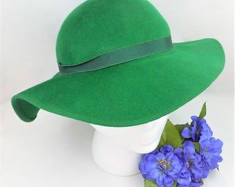 Tapered Wide Brim Wool Felt Hat, Merrimac Hat Corp., Shamrock Green Hat, Floppy Brim Hat