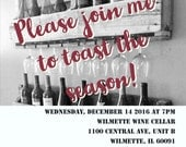 Join me to toast the season! Holiday Party Invitation (custom - made to order)