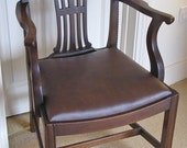 Chippendale Style Mahogany Armchair or Carver with Leather Seat