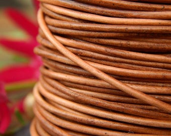 "1mm leather cord, Distressed Light Brown Leather Lacing, Genuine Leather, Lead-free Dyes, Sold by the metre / 1.09 yards, 0.04"" diameter"