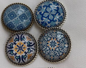 Brooches - Lisbon blue tiles
