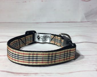 Fashionable blurberry dog collar, leash or set in beige tartan
