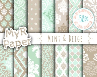 """Digital paper damask: """"Mint & Beige"""" digital paper pack with mint and beige damask backgrounds and patterns for scrapbooking"""