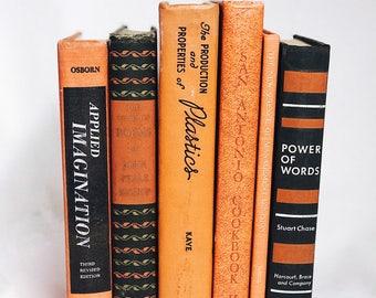 Orange Book Collection, Interior Book Decor, Wedding Centerpiece, Used Books, Vintage Book Set, Home Decoration, Antique Books