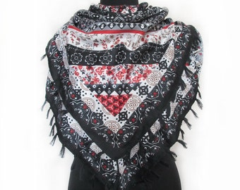 Floral Shawl, Boho Black Shawl, Valentines Day Gift, Romantic Gift, Bohemian Scarf, Fashion Boho Scarf, Black Red Shawl, Folk Shawl