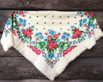 SALE! Vintage Floral Ukrainian shawl  Russian Scarf russian floral chale russe wedding natural white Babushka Russian USSR folk boho