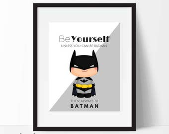 Batman Print, Batman Printable, Batman Poster, Nursery Decor, Superhero Wall Art, Boys Room Decor, Superhero Art, Instant Download