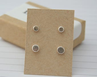 Tiny Stud Earrings Set   Recycled Silver   Two Pairs