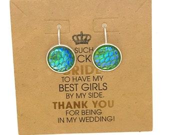 Bridesmaid Favors, Mermaid Earrings, Wedding favors, Bridesmaid Mermaid Earrings,