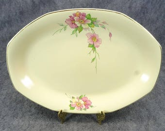 "Homer Laughlin Vintage Octagonal Serving Platter 13"" Wild Rose Yellowstone"