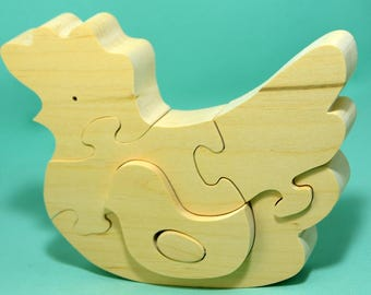 Wooden puzzle  Chicken, Handmade Eco Friendly Toy,  For Toddlers, Logic toys, Wooden toy, Natural, Organic and Safe toy
