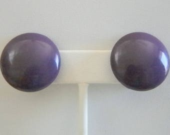 Purple Round Button Clip Earrings