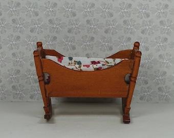 Doll house vintage cradle 1980s furniture crib bassinette wood