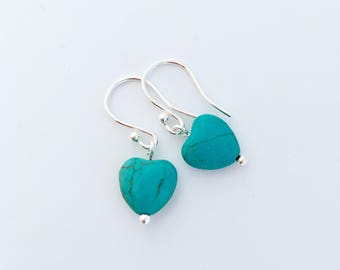 Turquoise heart earrings with Sterling silver, Turquoise earrings, gift for her, girlfriend gift, daughter gift, sister gift