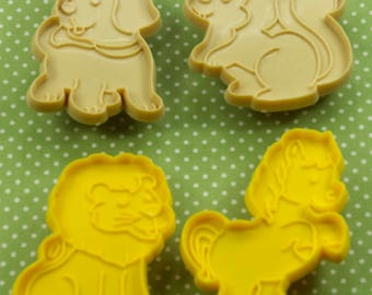 4  Pc. Vintage Puppy Lion Horse Squirrel Plastic Cookie Cutter Set Hong Kong
