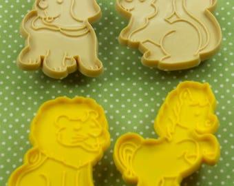 4  Pc. Vintage Puppy Lion Horse Squirrel Plastic Cookie Cutter Set Hong Kong