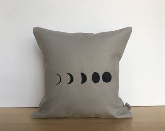 Embroidered moon phases pillow, throw pillow, custom pillow, moon pillow, housewarming gift, canvas pillow, moon phases, embroidered pillow
