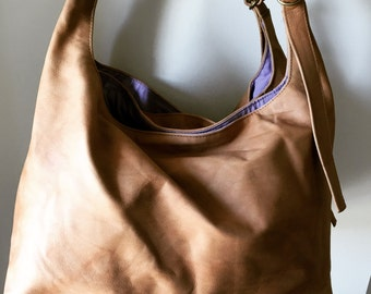 Tan leather handbag shoulder tote bag  Three compartments  Slouch style with twin adjustable straps Large shoulder tote bag lined