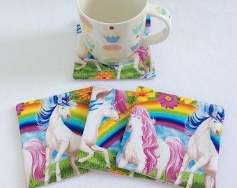 Fabric coasters mug rugs / cotton coasters / cotton mug rugs / unicorn coasters / horse coasters / childrens coasters / table mats /