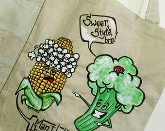 Hand painted Funny Broccoli Corn Tote bag Cartoon Sweet Tasty