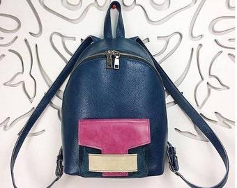 Leather Backpack Leofisher DiagonalZipper