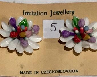 Vintage Deadstock Fruity Novelty Milk Glass Clip On Earrings Style no.5