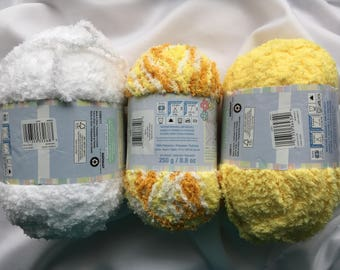 Bernat Pipsqueak 8.8 oz~Lemon Swirl 58610~Lemon Yellow 58622~Whitey White 58005~Baby Yarn~Soft Fluffy Yarn~Plush Blanket Yarn