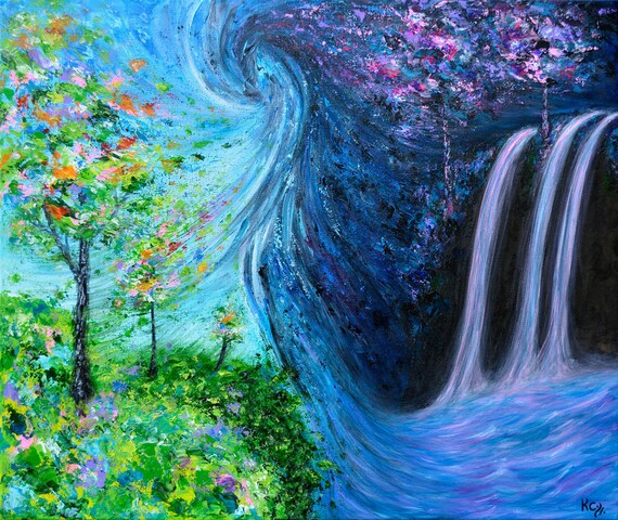 Surrealist Landscape Art Print, Night and Day with Waterfall and Trees, entitled Atemporal Vortex. Surrealism Wall Art. FREE SHIPPING!
