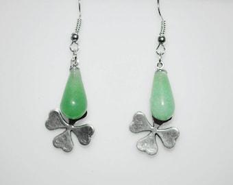 Green Aventurine Earrings . Green Aventurine Lucky Clover Earrings . St. Patrick's Earrings . Heart Chakra Healing Earrings . Reiki Earrings