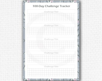 Printable Habit Tracker - Printable Challenge Tracker - 100 Day Challenge Tracker