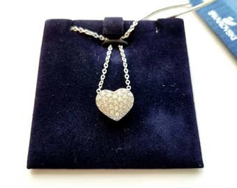 Vintage Swarvoski Signed Silver Plated Necklace with Crystal Heart Pendant with Original Tags Valentines