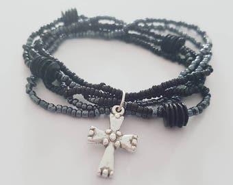 Black and Grey Stretch Beaded Bracelet Set. Fashion.