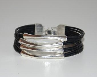 Leather bracelet, women leather bracelet,irregular tube bracelet,vintage style,black leather and brown leather tube bracelet.